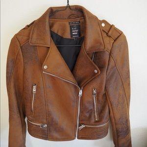 Zara Brown Suede Biker Jacket